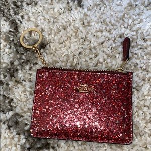 Coach Shimmer Glitter Maroon Card Case Coin Purse